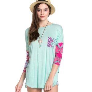 Tops - Aqua 3/4 Length Sleeve Tunic with Printed Sleeves